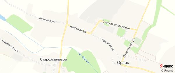 Карта села Орлика в Белгородской области с улицами и номерами домов