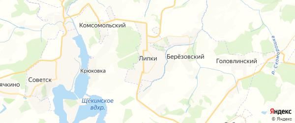 Карта Липки с районами, улицами и номерами домов