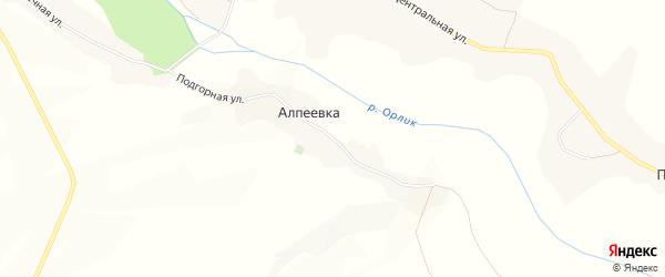 Карта хутора Алпеевки в Белгородской области с улицами и номерами домов