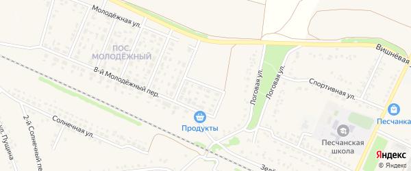 1-й Молодежный переулок на карте села Песчанки с номерами домов