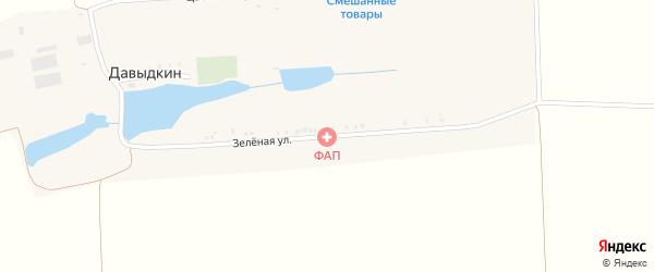 Зеленая улица на карте хутора Давыдкина с номерами домов