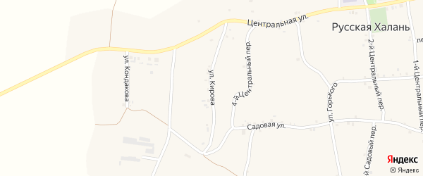 Улица Кирова на карте села Русской Халани с номерами домов