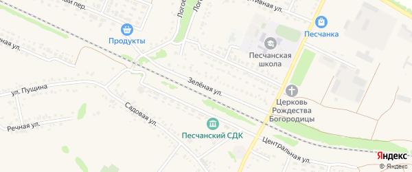 Зеленая улица на карте села Песчанки с номерами домов
