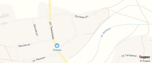 Луговая улица на карте села Русской Халани с номерами домов