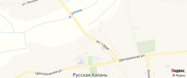 1 Мая улица на карте села Русской Халани с номерами домов