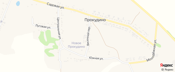 Весенний переулок на карте села Прокудино с номерами домов