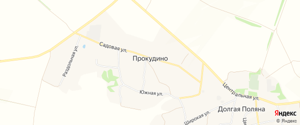 Карта села Прокудино в Белгородской области с улицами и номерами домов