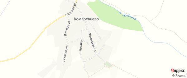 Карта села Комаревцево в Белгородской области с улицами и номерами домов