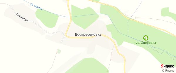 Карта села Воскресеновки в Белгородской области с улицами и номерами домов