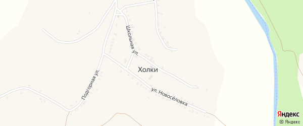 Школьная улица на карте села Холки с номерами домов