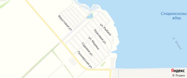 Береговое СТ на карте Старооскольского района с номерами домов