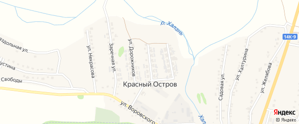 Улица Дорожников на карте поселка Красного Острова с номерами домов