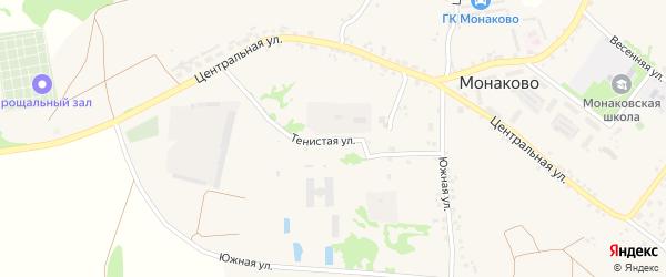 Тенистая улица на карте села Монаково с номерами домов