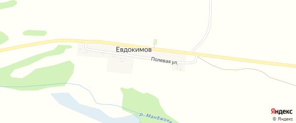 Полевая улица на карте хутора Евдокимова с номерами домов