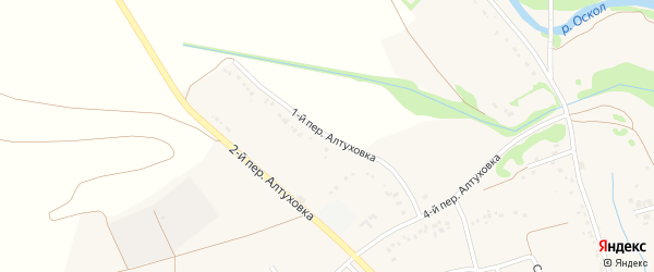 Переулок 1-й Алтуховка на карте села Федосеевки с номерами домов