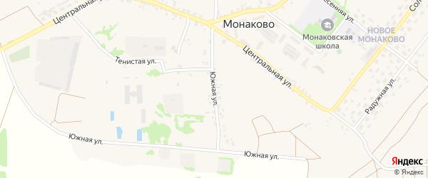 Южная улица на карте села Монаково с номерами домов