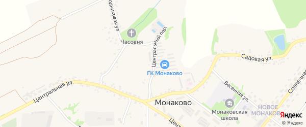 Центральный переулок на карте села Монаково с номерами домов