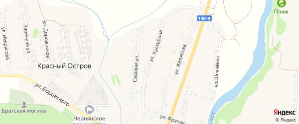 Улица Халтурина на карте поселка Красного Острова с номерами домов