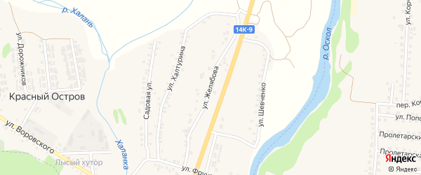 Улица Желябова на карте поселка Красного Острова с номерами домов