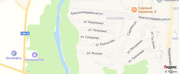 Улица Суворова на карте поселка Чернянка с номерами домов