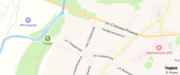 Переулок Свердлова на карте поселка Чернянка с номерами домов