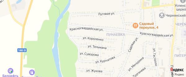 Улица Короленко на карте поселка Чернянка с номерами домов