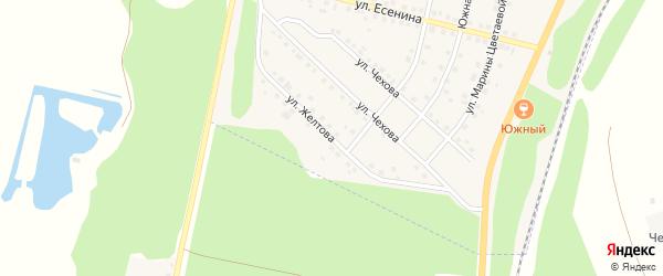 Улица Желтова на карте поселка Чернянка с номерами домов