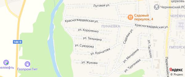 Улица Тельмана на карте поселка Чернянка с номерами домов