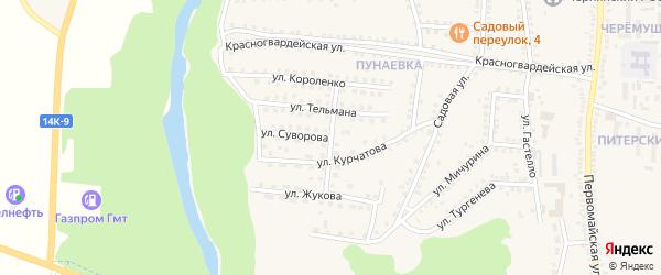 Переулок Суворова на карте поселка Чернянка с номерами домов