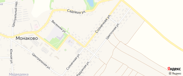 Солнечная улица на карте села Монаково с номерами домов