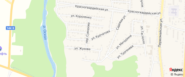 Улица Курчатова на карте поселка Чернянка с номерами домов