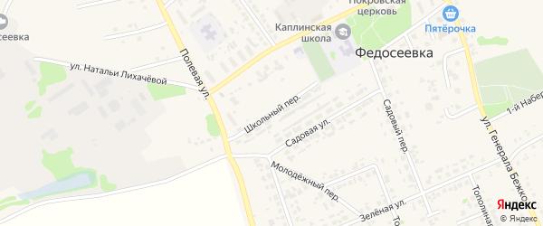 Школьный переулок на карте села Федосеевки с номерами домов