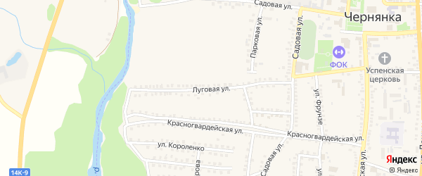 Луговая улица на карте поселка Чернянка с номерами домов
