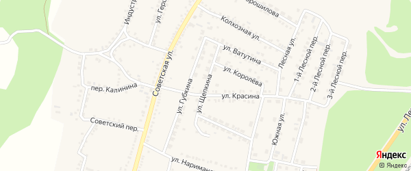 Улица Щепкина на карте поселка Чернянка с номерами домов