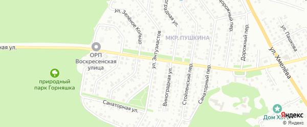 Улица Энтузиастов на карте Старого Оскола с номерами домов