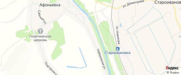 Карта села Афоньевки в Белгородской области с улицами и номерами домов