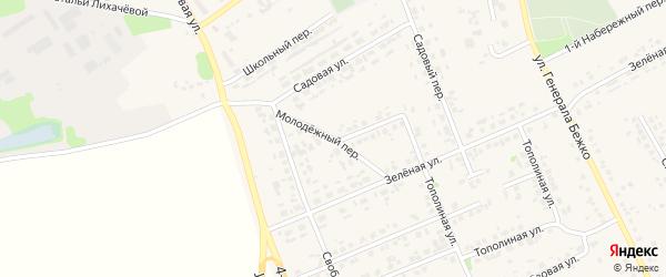 Молодежный переулок на карте села Федосеевки с номерами домов