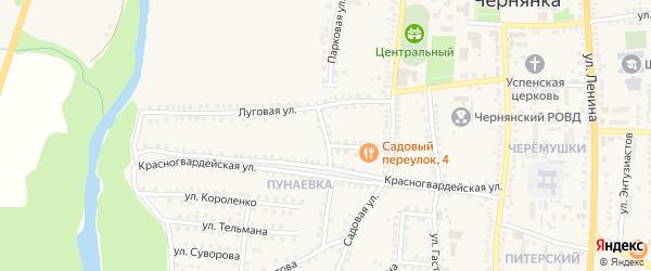 Луговой переулок на карте поселка Чернянка с номерами домов