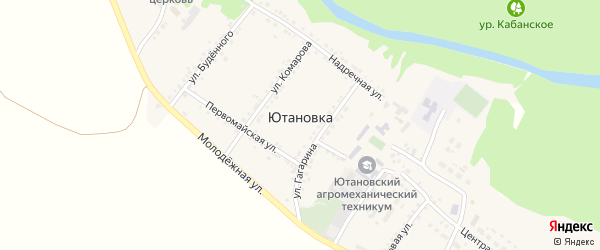 Улица Гагарина на карте села Ютановки с номерами домов