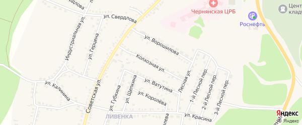 Колхозная улица на карте поселка Чернянка с номерами домов