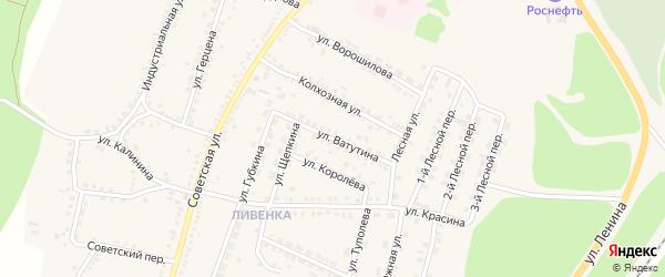 Улица Ватутина на карте поселка Чернянка с номерами домов