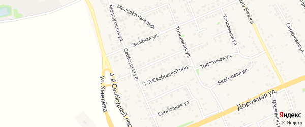 1-й Свободный переулок на карте села Федосеевки с номерами домов