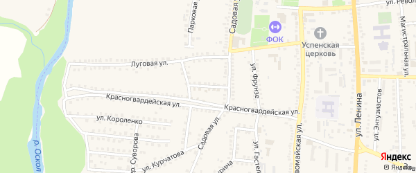 Садовый переулок на карте поселка Чернянка с номерами домов