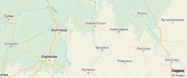 Карта Волоконовского района Белгородской области с городами и населенными пунктами