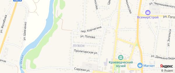 Улица Попова на карте поселка Чернянка с номерами домов