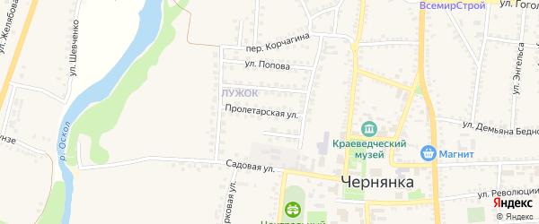 Пролетарская улица на карте поселка Чернянка с номерами домов