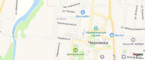Пролетарский проезд на карте поселка Чернянка с номерами домов