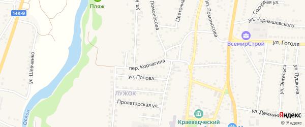 Переулок Корчагина на карте поселка Чернянка с номерами домов