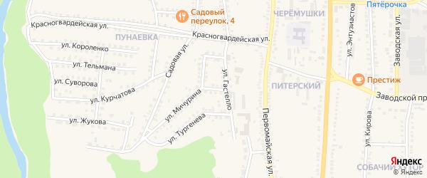 Переулок Гастелло на карте поселка Чернянка с номерами домов