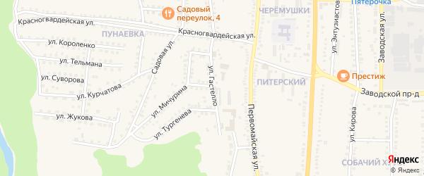 Улица Гастелло на карте поселка Чернянка с номерами домов